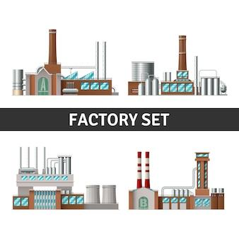 Edifício de fábrica realista com janelas de chaminés e poder