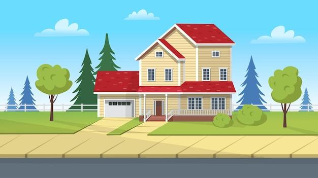 Edifício de fachada, casa suburbana com garagem e gramado verde. ilustração em vetor dos desenhos animados para jogos ou animação.