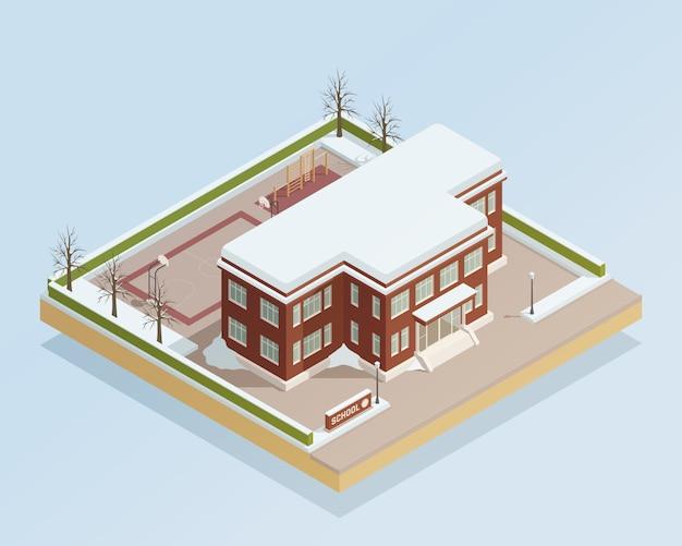 Edifício de faculdade de inverno isométrico ao ar livre