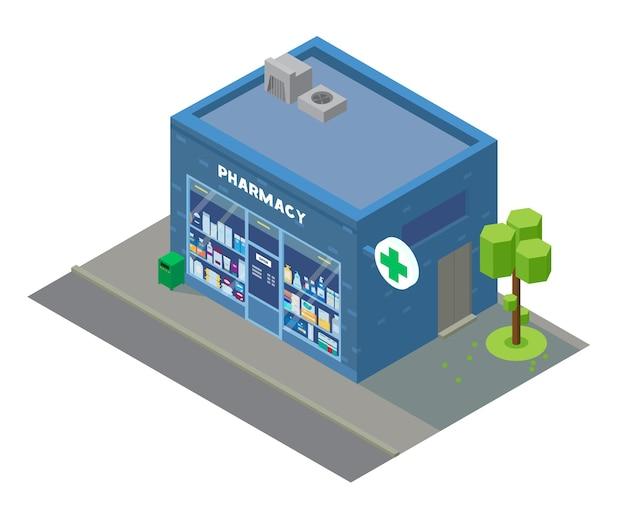 Edifício de farmácia isométrica de vetor com vitrine com medicamentos e cosméticos. edifício isométrico da cidade.