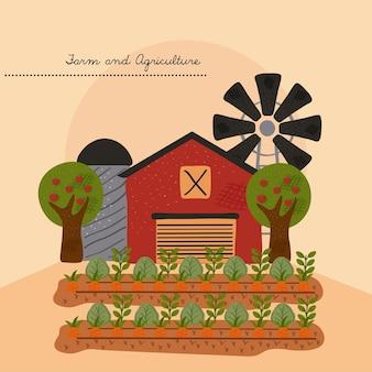 Edifício de fazenda estável com moinho de vento e ilustração vetorial de cultivo