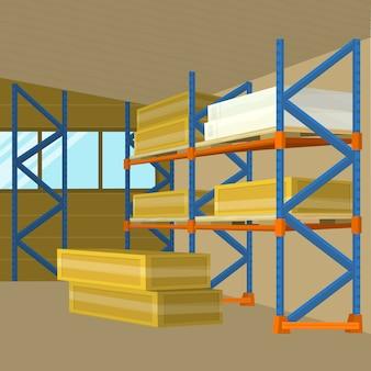 Edifício de hangar de armazém em design plano