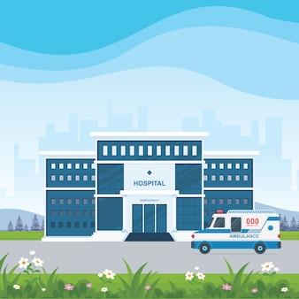 Edifício de hospital e ambulância com bela paisagem.