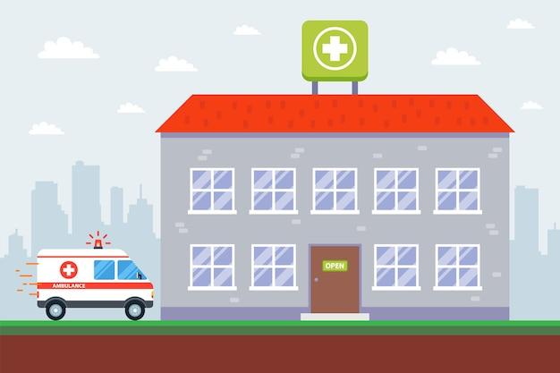 Edifício de hospital e ambulância. ilustração vetorial plana.