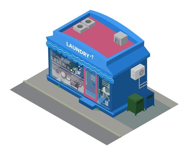 Edifício de lavanderia isométrica de vetor com máquinas de lavar roupa em shoscase. edifício isométrico da cidade.