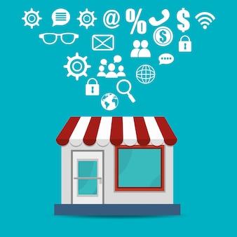 Edifício de loja com ícones de comércio eletrônico