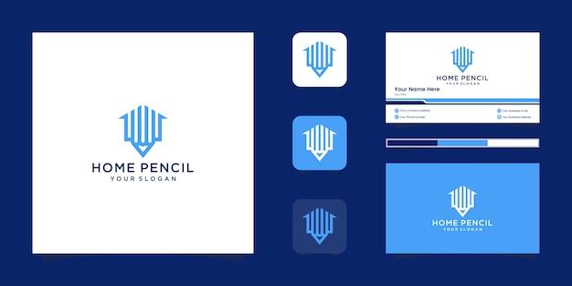 Edifício de modelo de design de logotipo de lápis em casa. logotipo de símbolo de contorno minimalista e cartão de visita