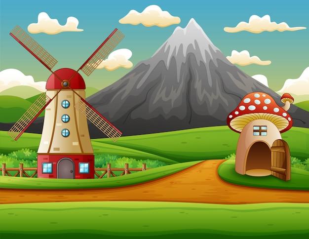 Edifício de moinho de vento e a casa de cogumelo