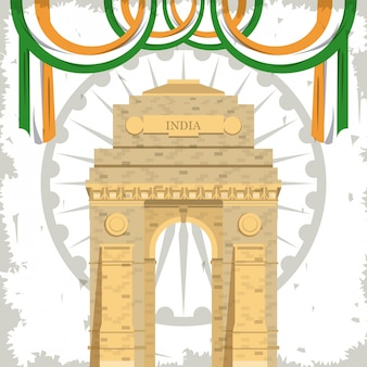 Edifício de monumento de portão de índia com bandeiras