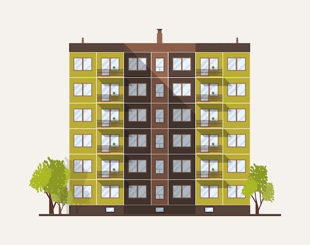 Edifício de painel de vários andares alto da cidade construído em estilo arquitetônico moderno.