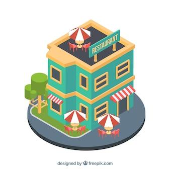 Edifício de restaurante plano com perspectiva isométrica