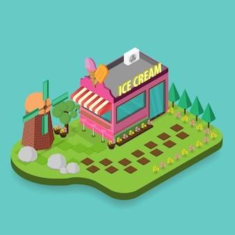 Edifício de sorvete isométrico