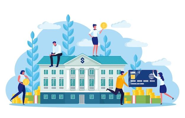 Edifício do banco com fachada clássica, pilha de dinheiro isolada no fundo branco. banqueiro, funcionário, depositantes, investidores com cartão de crédito, dinheiro. instituto financeiro federal do governo. projeto