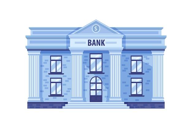 Edifício do banco com pilares de entrada em mármore azul