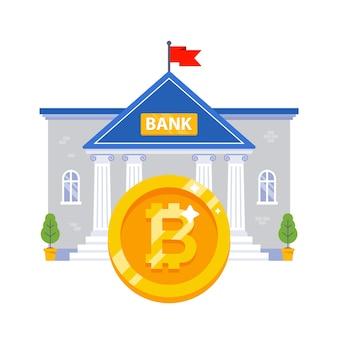Edifício do banco com uma grande moeda de bitcoin de ouro. ilustração vetorial plana.