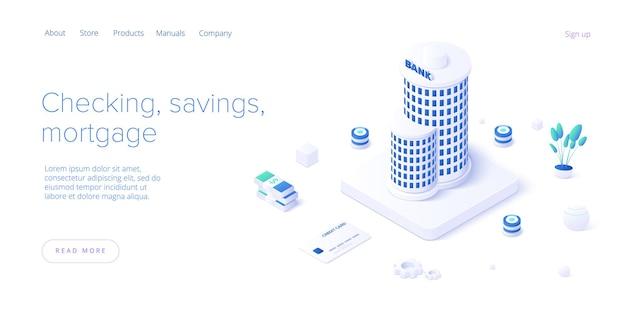 Edifício do banco e conceito de transação de dinheiro em desenho isométrico. transferência de pagamento ou depósito e investimento. modelo de layout de banner da web.