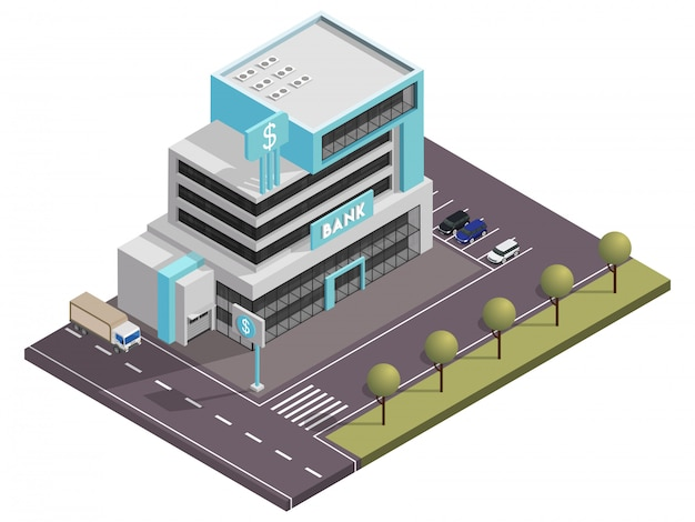 Edifício do banco isométrico com estacionamento em frente à rua quintal vista