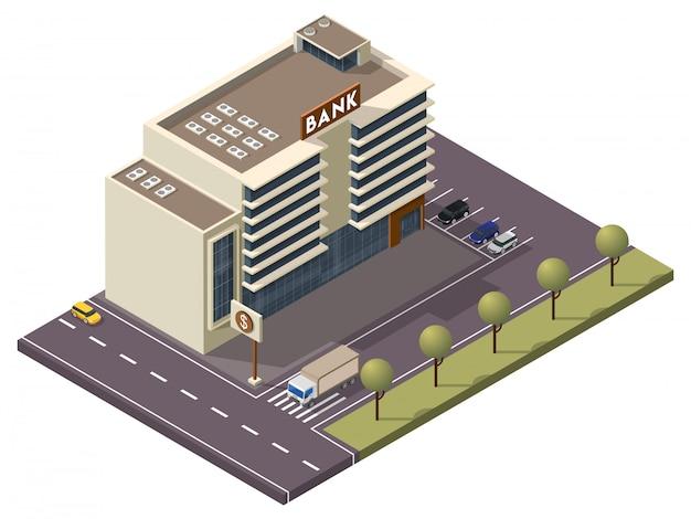 Edifício do banco isométrico com placa e estacionamento ao longo da rua de transporte