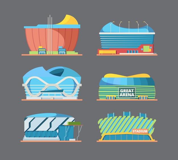 Edifício do estádio. exterior das ilustrações planas de construção de modernos estádios internacionais de campo de arena de esporte. fachada da arena de futebol, estádio para a liga de futebol de competição