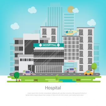 Edifício do hospital com vista da cidade. conceito médico e de saúde.