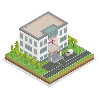 Edifício do hospital. hospital da cidade. centro médico. conceito isométrico. carro de ambulância. carro de emergência