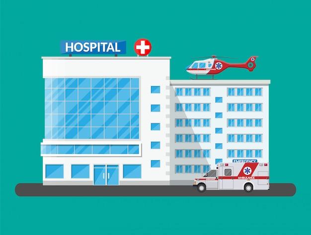 Edifício do hospital, ícone médico.