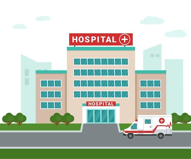 Edifício do hospital médico do lado de fora de uma ambulância ao lado do prédio do hospital