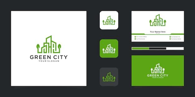 Edifício do modelo de design de logotipo de cidade verde. contorno minimalista símbolo logotipo e cartão de visita