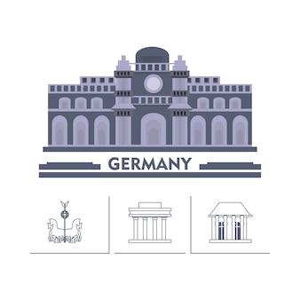 Edifício do parlamento alemão e edifícios icónicos em torno