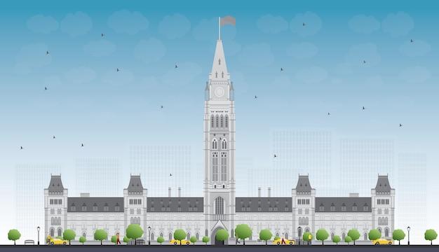 Edifício do parlamento em ottawa, canadá. ilustração. viagem de negócios e conceito de turismo com edifício histórico. imagem para cartaz de banner de apresentação e site. Vetor Premium