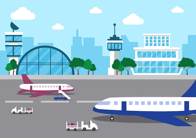 Edifício do terminal do aeroporto com infográfico decolando e ilustração de elementos de diferentes tipos de transporte