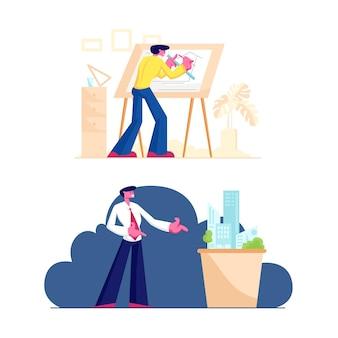 Edifício e conceito de construção de engenharia. ilustração plana dos desenhos animados