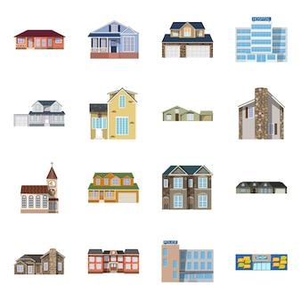 Edifício e ícone da frente. edifício da coleção e material do telhado.