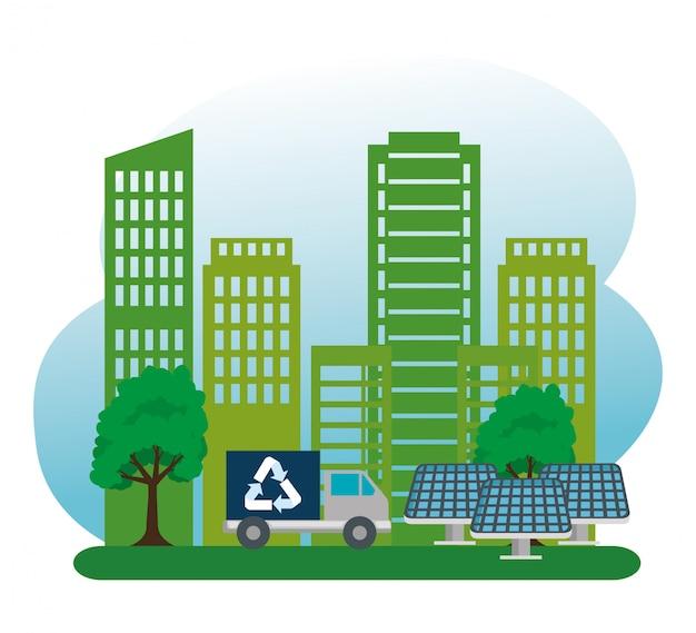 Edifício ecológico com biocombustíveis para caminhões e energia solar