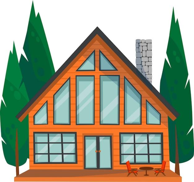 Edifício elegante de vetor, casa para aluguel ou venda, mansão em estilo chalé.