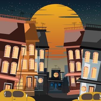 Edifício em ilustração vetorial de cidade