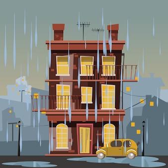 Edifício em ilustração vetorial de dia chuvoso
