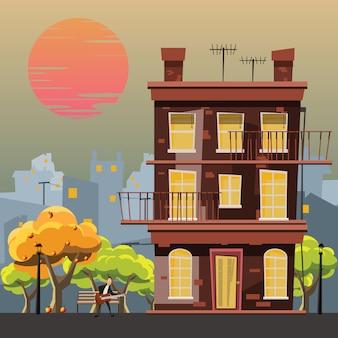 Edifício em ilustração vetorial de jardim