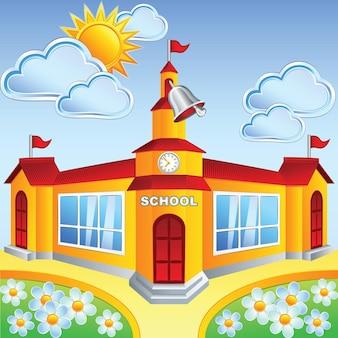 Edifício escolar de desenho vetorial