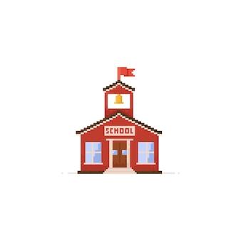 Edifício escolar de pixel