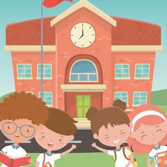 Edifício escolar e crianças