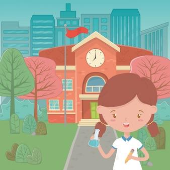 Edifício escolar e desenho de menina