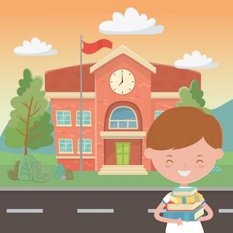 Edifício escolar, e, menino, caricatura