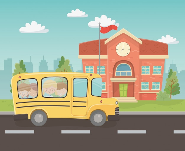 Edifício escolar e ônibus com crianças na cena