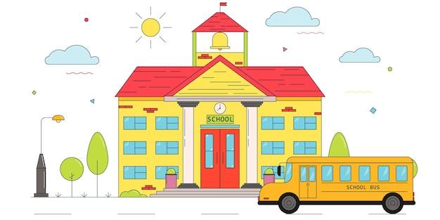 Edifício escolar e ônibus escolar volta ao conceito de escola ilustração em vetor escola em estilo linear