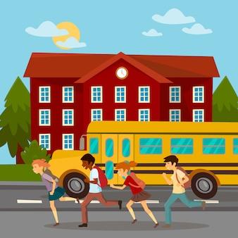 Edifício escolar. estudiosos correndo para a escola