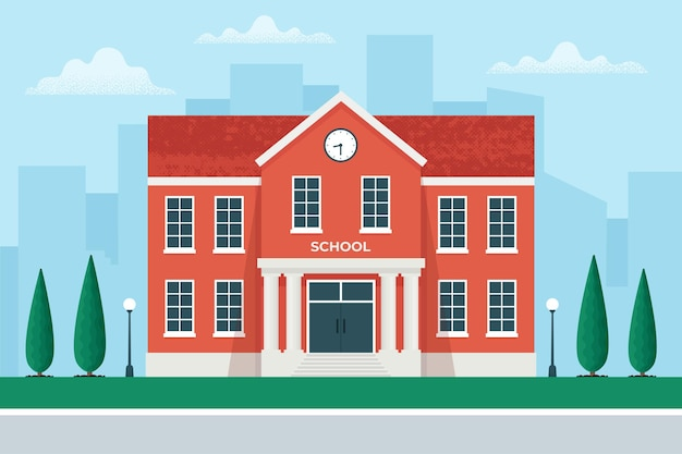 Edifício escolar no fundo da cidade, de volta ao conceito de ilustração da escola em estilo simples.