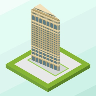 Edifício flatiron isométrico