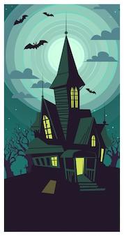 Edifício gótico dilapidado escuro na ilustração da lua cheia