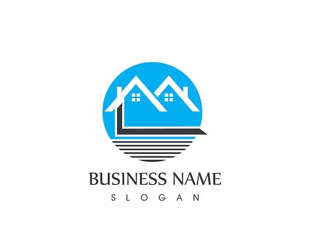 Edifício imobiliário home logo design Vetor Premium